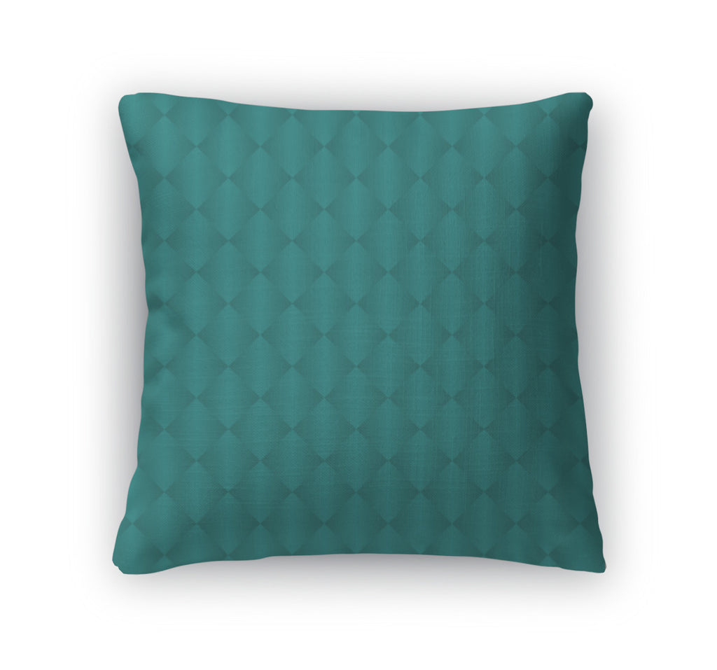 Throw Pillow, Teal Diamond Pattern Repeat