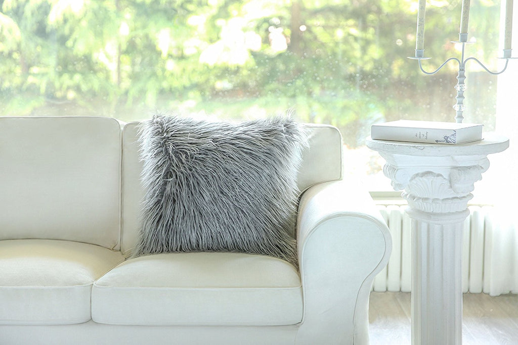 "Luxury Series Merino Style Grey Fur Throw Pillow Cover 18"" x 18"""