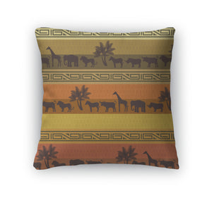 Throw Pillow, African Style With Wild Animals And Abstract Signs
