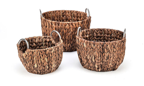 Set of 3 Round Hyacinth Baskets with Stainless Steel Handles-Rich Chocolate Finish