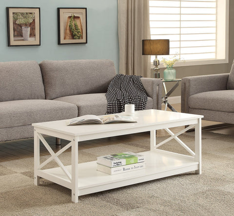 White Finish Wooden Coffee Table