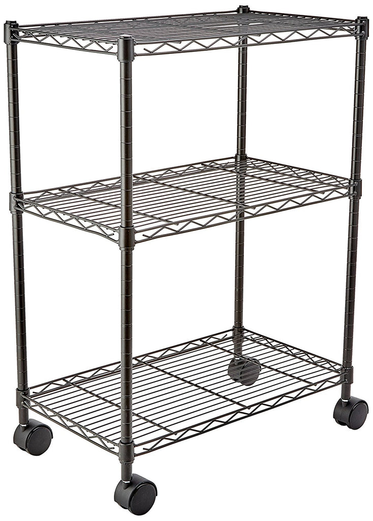 3-Shelf Shelving Unit on Wheels - Black