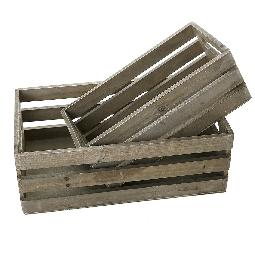 Distressed Wood Nesting Boxes, Storage Crates w/ Handles, Set of 2, Gray