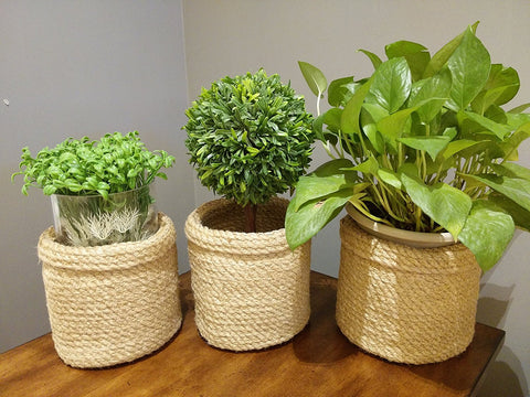 Jute Planter Baskets -3 pcs- Jute Plant Baskets