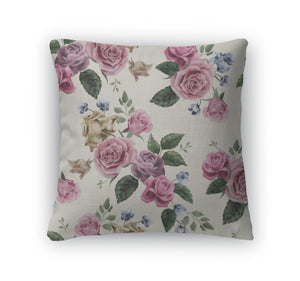Throw Pillow, Floral Pattern With Pink Roses