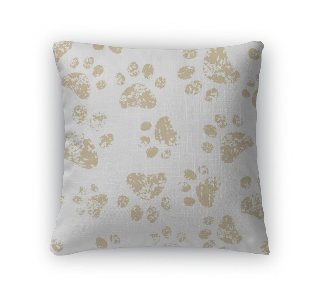 Throw Pillow, Cat Or Dog Brown Paw Prints On White Pattern