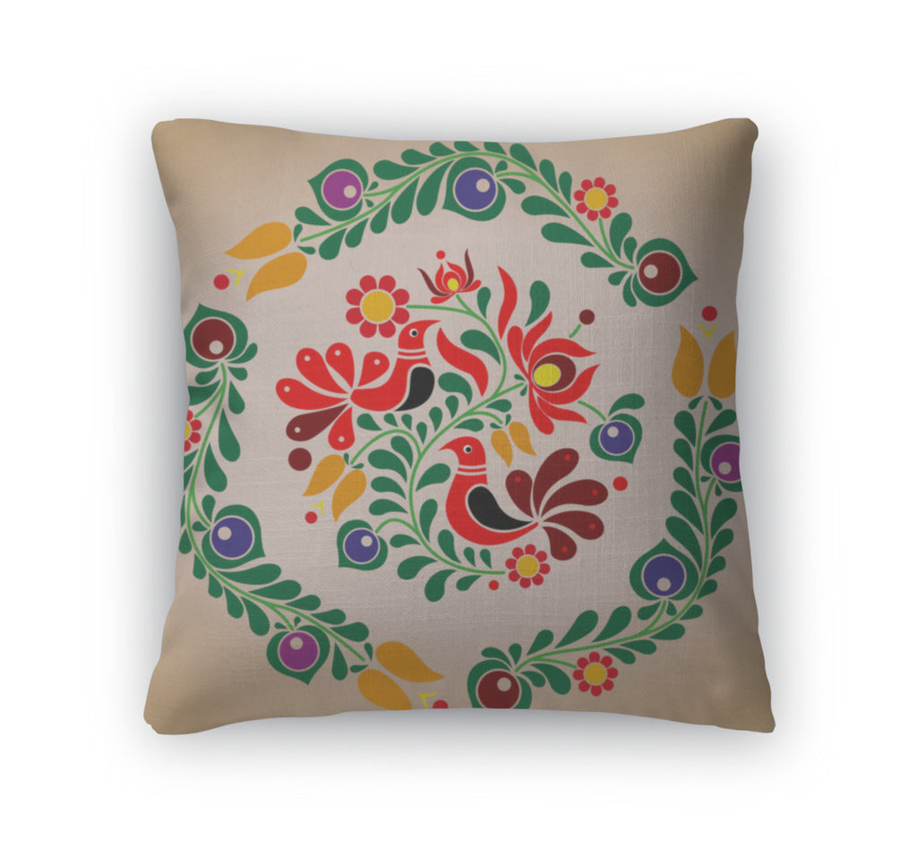 Throw Pillow, Hungarian Kalocsai Ornament
