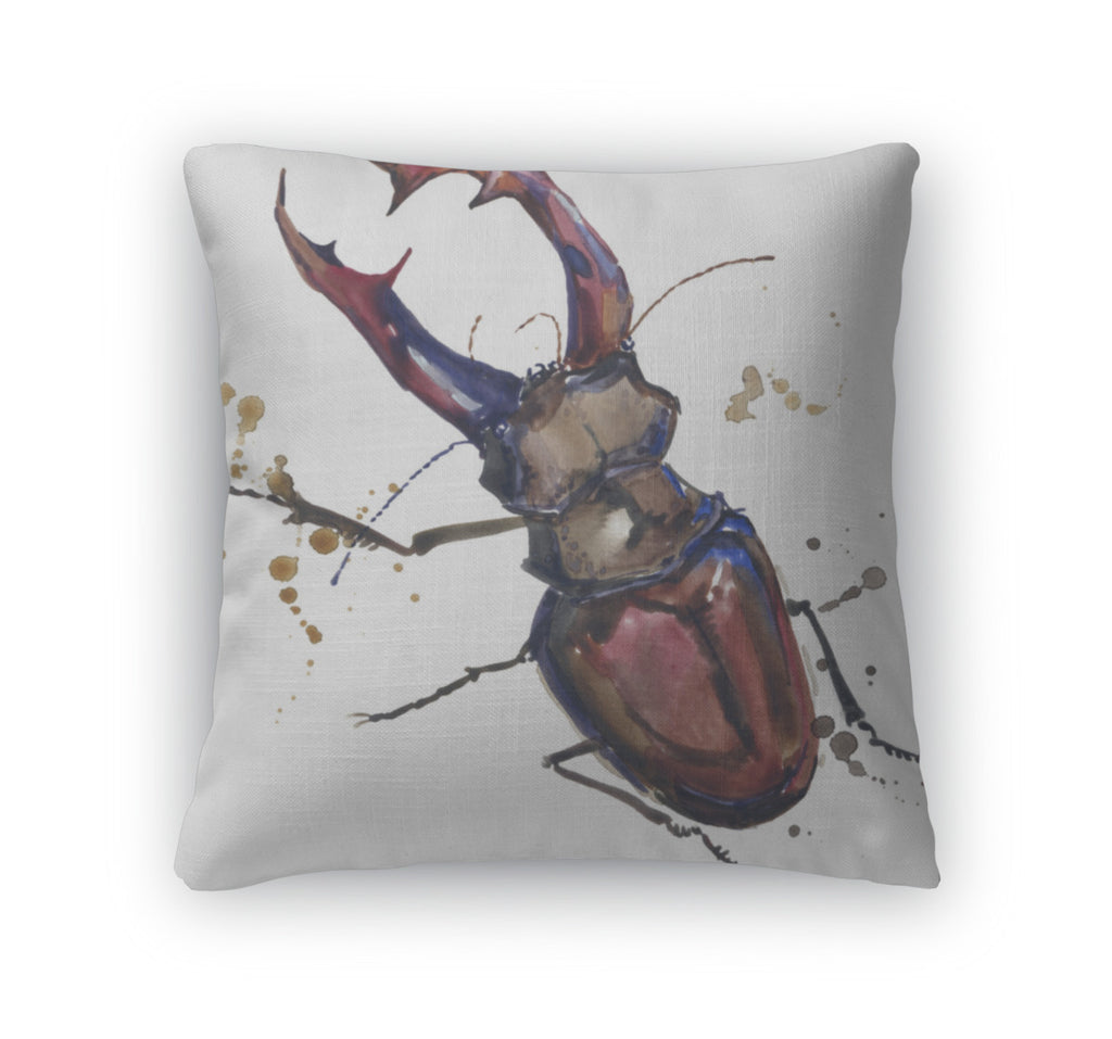 Throw Pillow, Stag Beetle Insect Tshirt Graphics Stag Beetle Illustration With Splash
