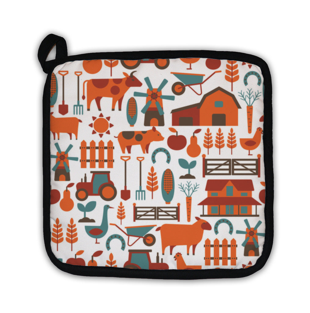 Potholder, Pattern With Farm Related Items