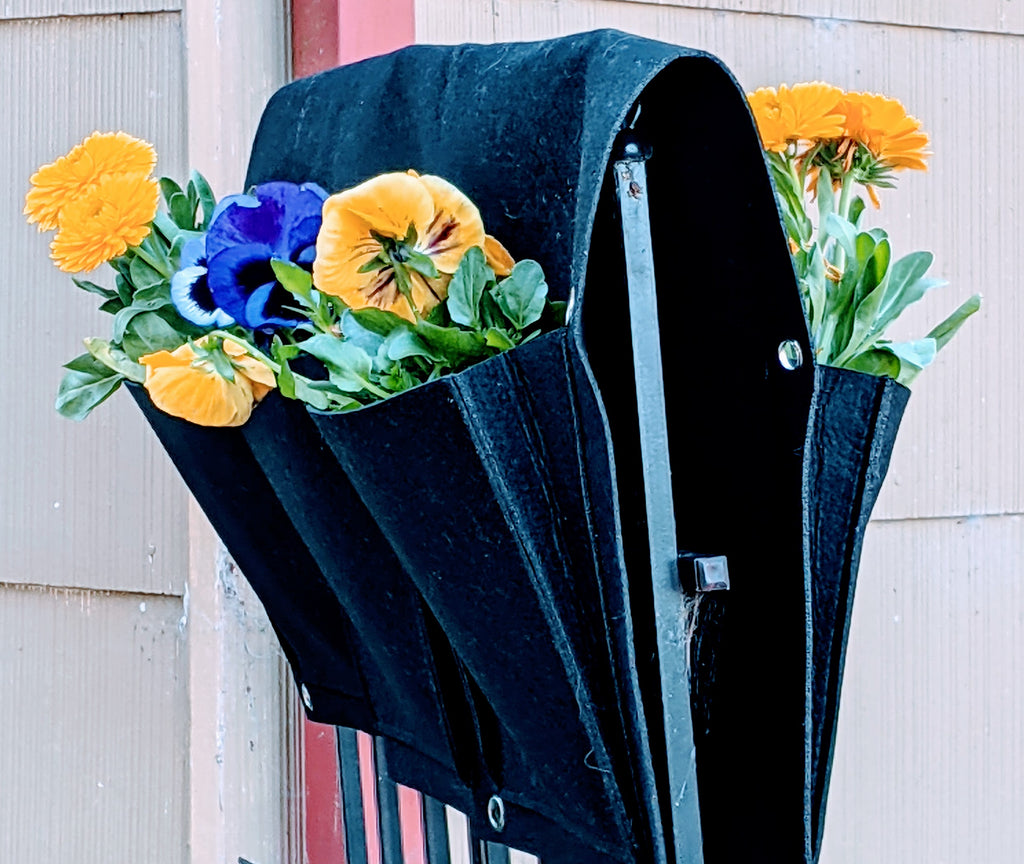 Delectable Garden Cloth 6 Pocket Saddlebag Hanging Vertical Garden Fence Bag Planter  Hangs down both sides of your fence!