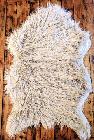 Area Rug Ultra Soft Faux Sheepskin Rug, Throw or Baby Blanket-Natural