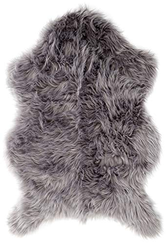 Area Rug Ultra Soft Faux Sheepskin Rug, Throw or Baby Blanket - Gray