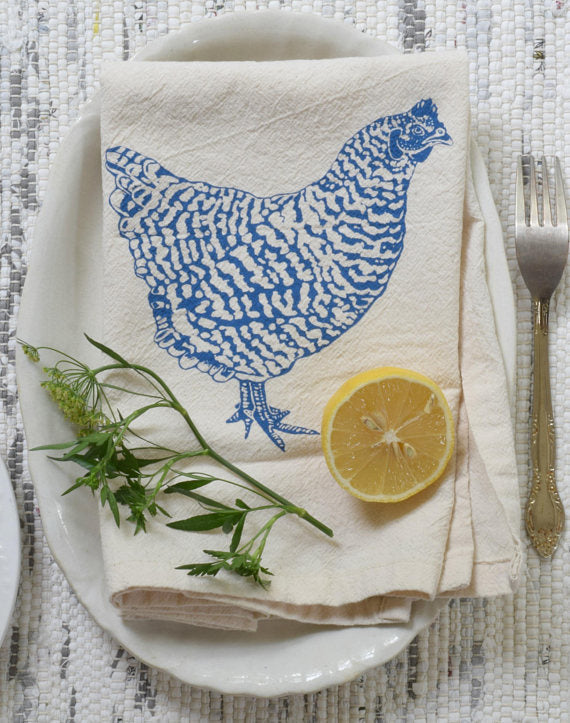 Chicken Print Cloth Napkins - Set of 4 - Organic Cotton