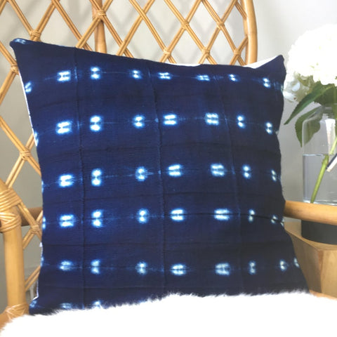 "Amazing African Mudcloth Hand Stitched White & Black or Shibori Indigo Pillow Cover - 16""x16"" - 20""x20"" - 25""x25"" - 16""x26"" - also available"