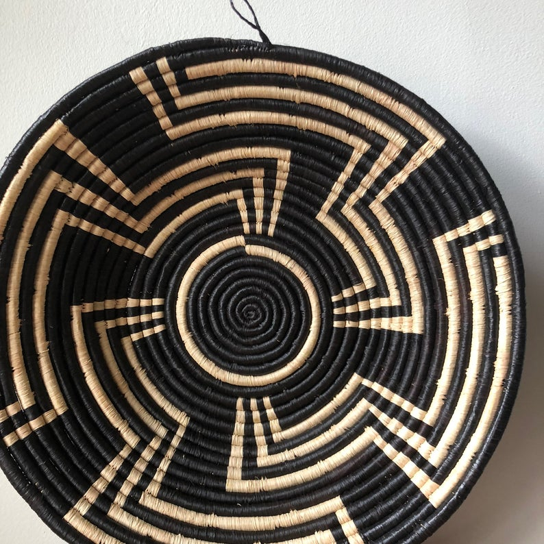 Wall Hanging Black and White African Bukedo Basket-Two Sizes