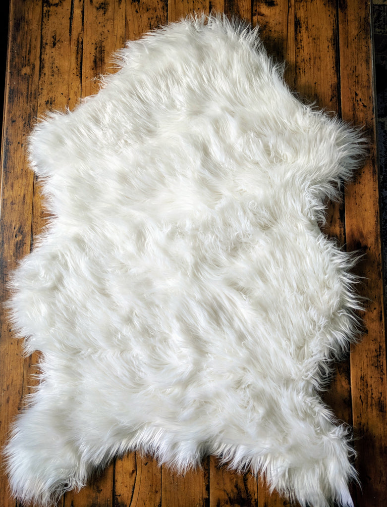 Area Rug Ultra Soft Faux Sheepskin Rug Throw Or Baby Blanket White