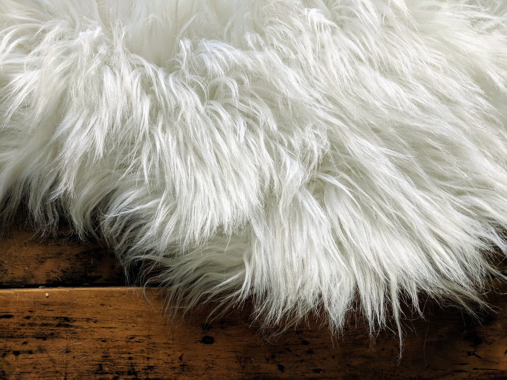 Area Rug Ultra Soft Faux Sheepskin Rug, Throw or Baby Blanket - White