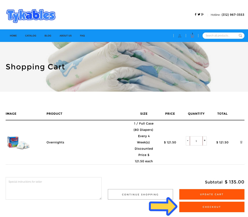 Tykables AutoShip Checkout page