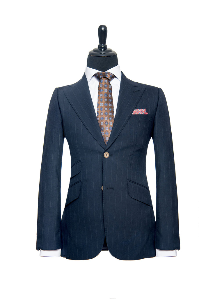Blue Pinstripe Cashmere Custom Suit