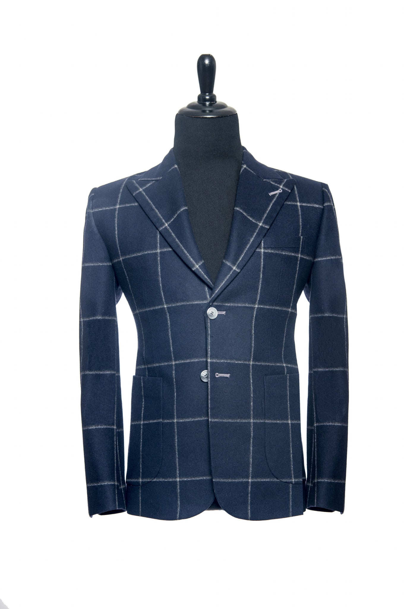Fox Brothers: Navy Blue and Grey Windowpane Custom Blazer