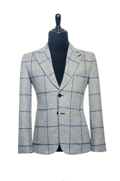 Fox Brothers: Grey with Blue Windowpane Custom Blazer