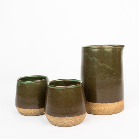 Stoneware Carafe Set - Deep Green