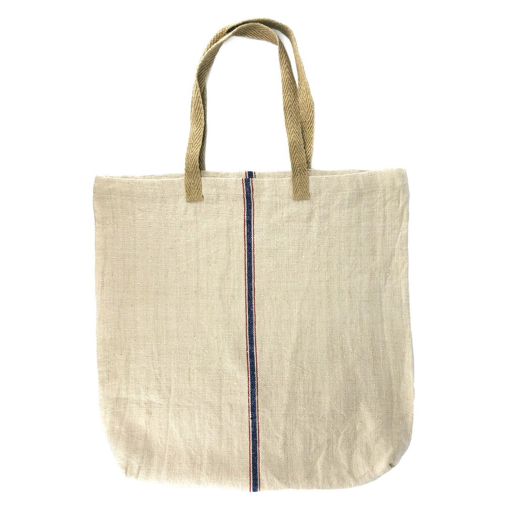 Large Linen Tote - Blue + Red Vertical Stripe