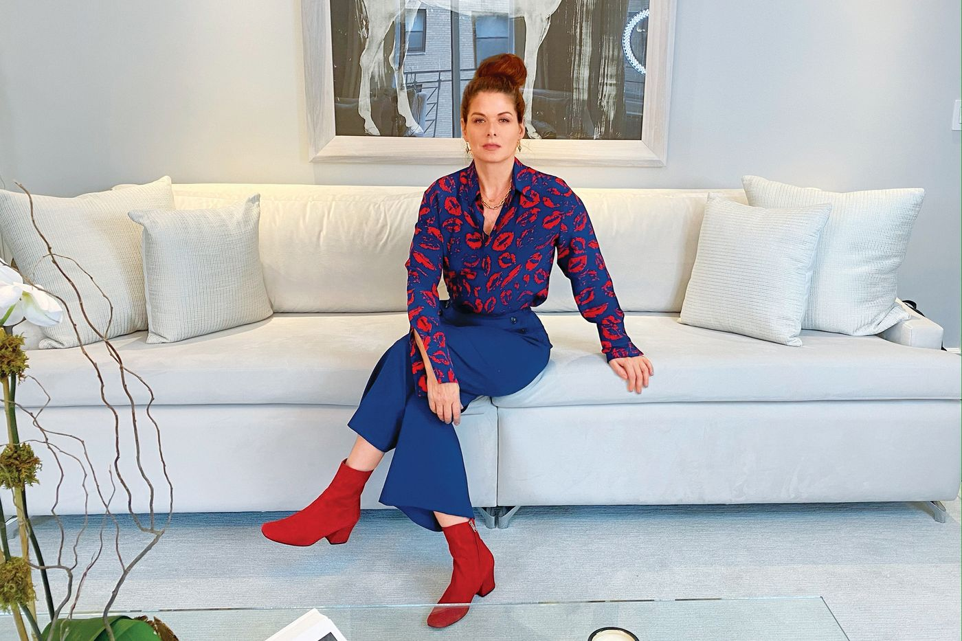 debra messing silk blouse, debra messing personal style