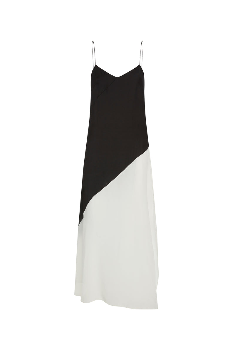 Asymmetric Two-Tone Slip Dress