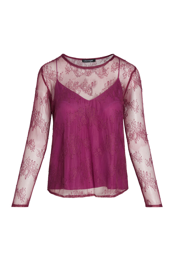 June Sheer Floral Lace Top
