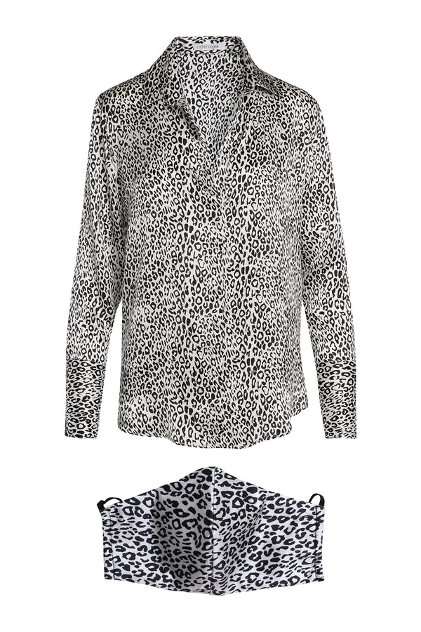 Daria Cheetah Print Blouse & Mask Bundle