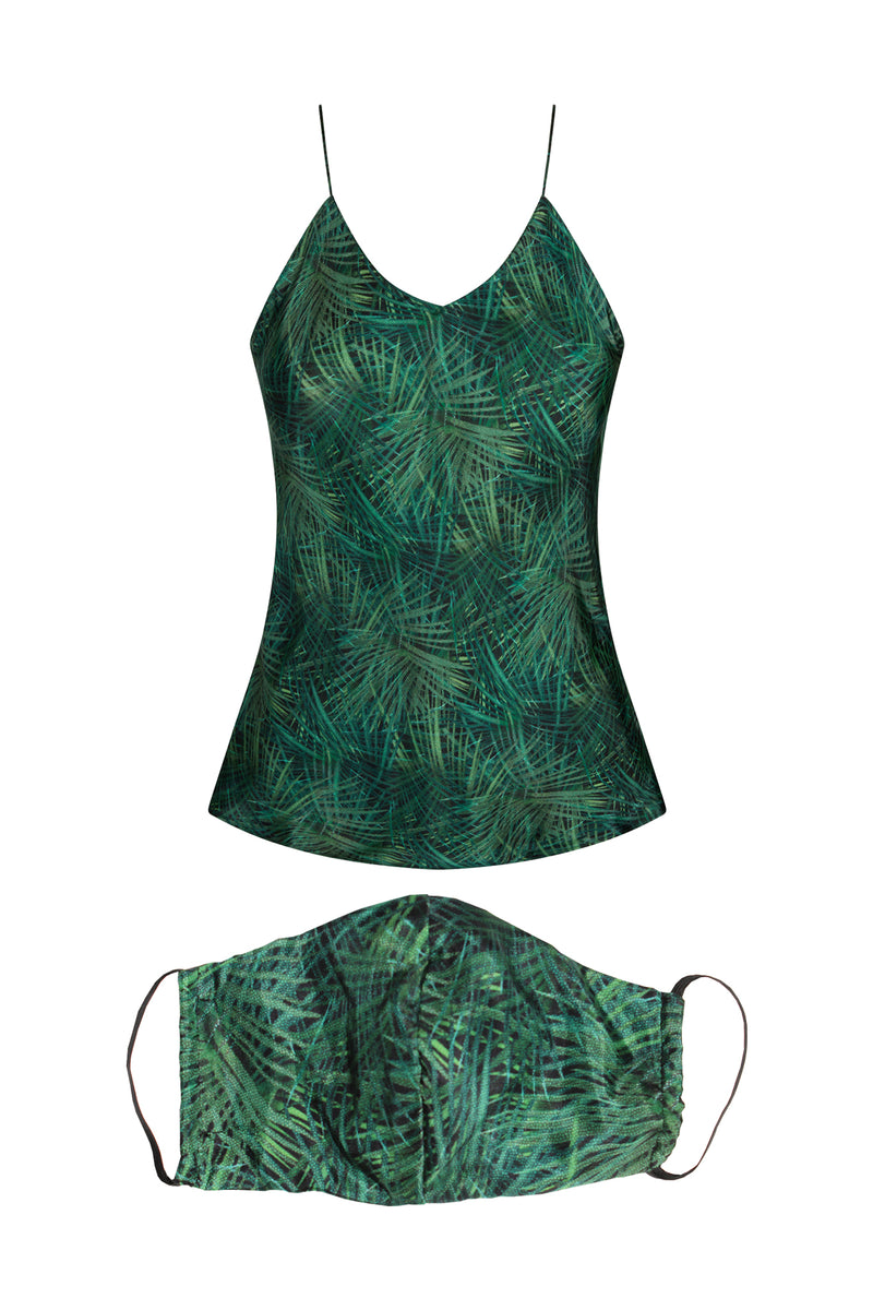 Silk Celeste Palm Print Tank & Mask Bundle