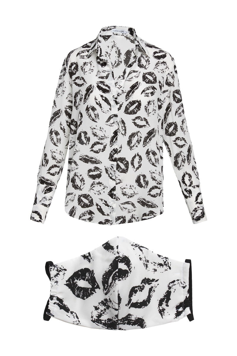 Catherine Gee Silk Daria Blouse & Silk Face Mask in Lip Print