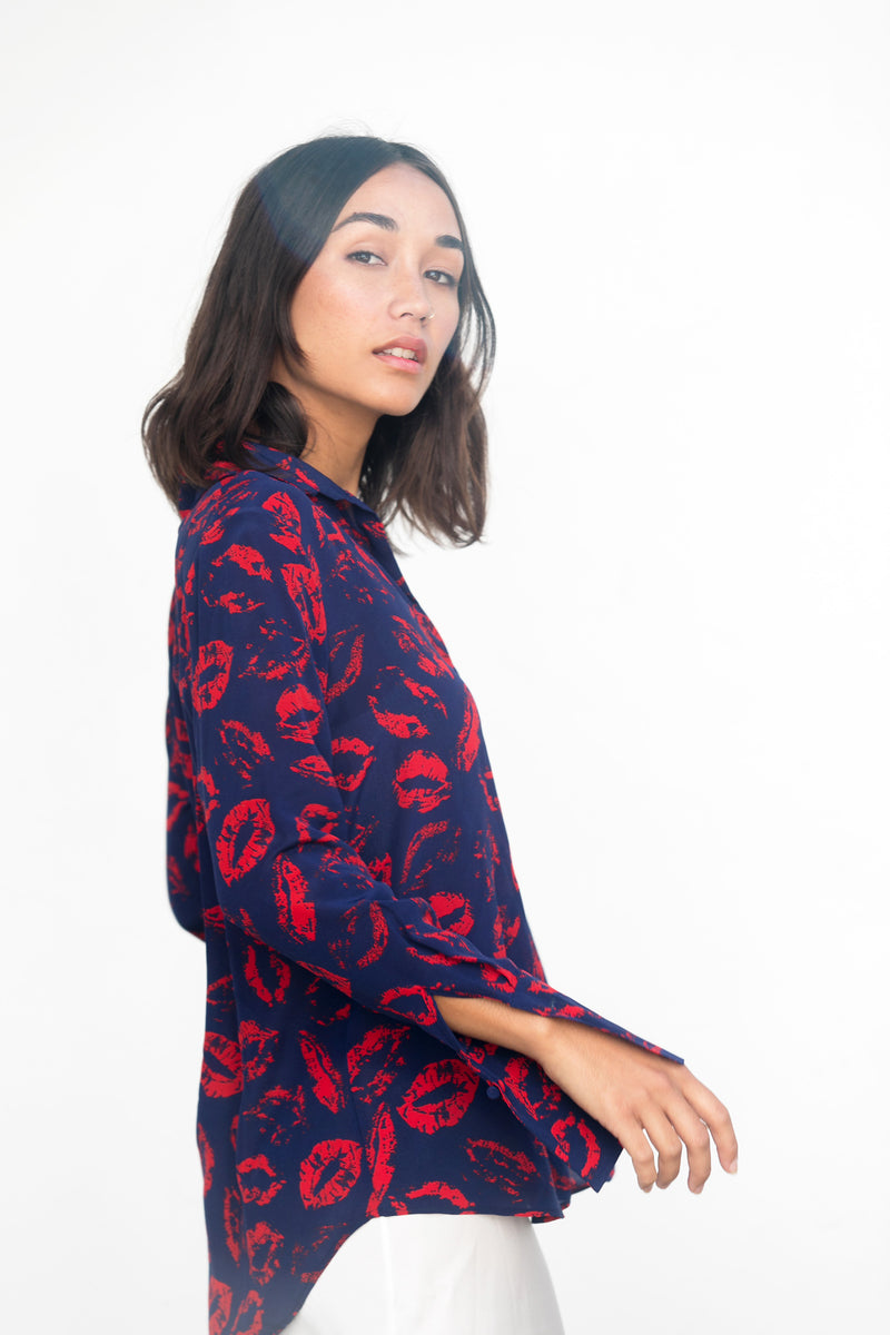 Daria French Cuff Lip Print Blouse