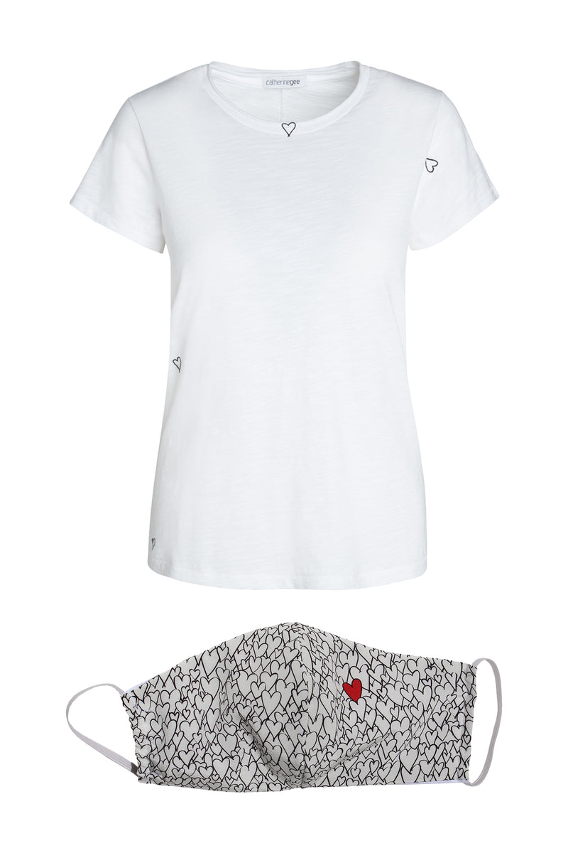 Embroidered Heart Cotton T-Shirt & Mask Bundle