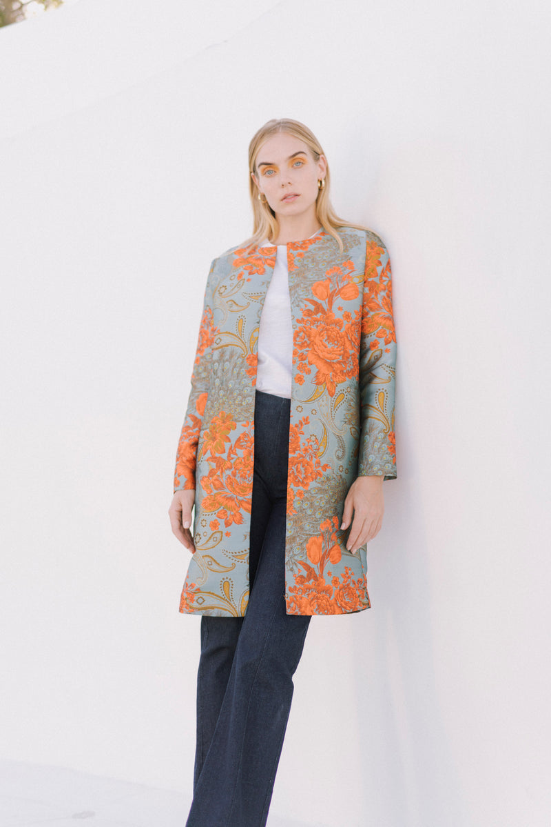 Margot Jacquard Long Car Coat