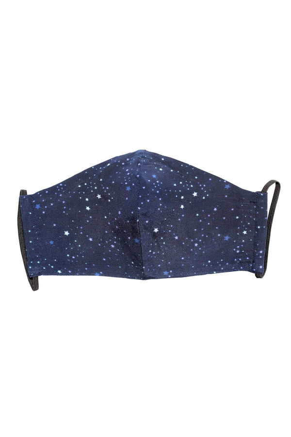 Reusable Silk Face Mask in Navy Stars
