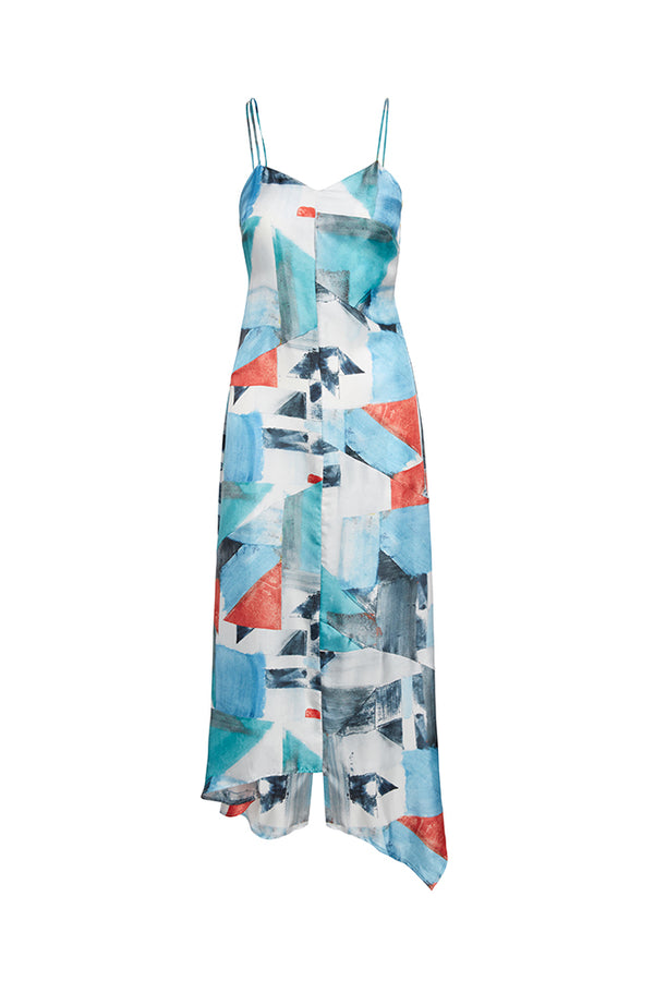 Caty Asymmetric Silk Printed Dress