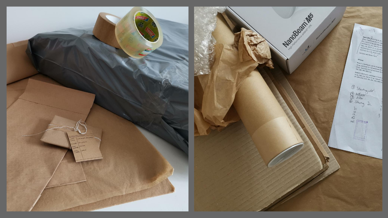 Examples of packaging used, recycled wherever possible.