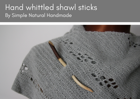 Wooden shawl sticks - handmade in the UK