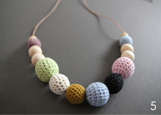 Hand-crocheted necklaces - made in Sweden using organic cotton