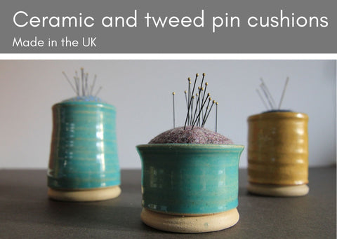 Ceramic & tweed pin cusions - Made in UK