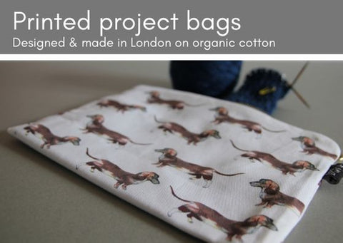 Printed project bags - eight designs, designed, printed & made in the UK