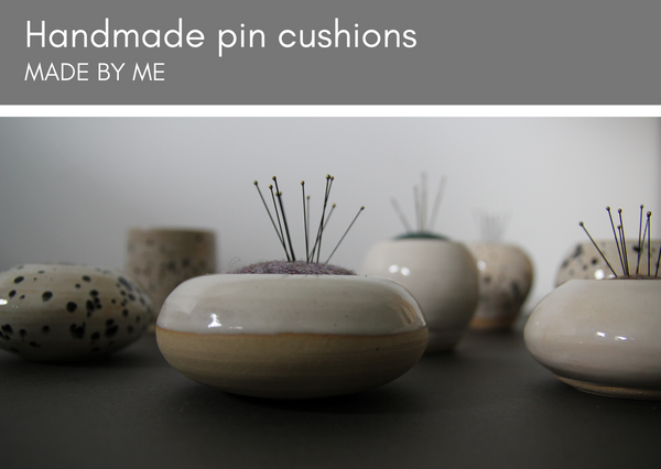 Ceramic & tweed pin cusions (rounded) - Made in UK - Provenance Craft Co