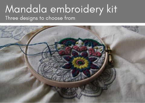 Bag embroidery mandala kits (Mandalas - 3 designs & 5 colourways to choose from) - Provenance Craft Co