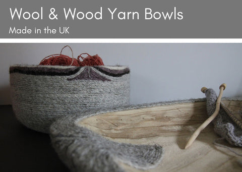 Wool and Wood Yarn Bowls - two shapes