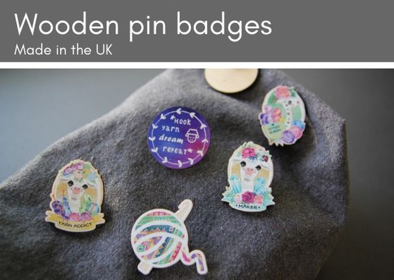 Wooden pins by My Crochet Makes - made in the UK