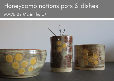 Honeycomb dishes, pots & pincushions - MADE BY ME Ceramic dishes