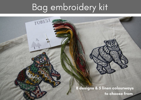 Bag embroidery kits (8 designs & 5 colourways to choose from)