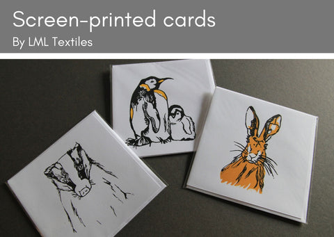 Hand screen-printed cards by LML Textiles